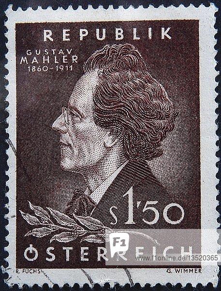Gustav Mahler  ein österreichischer Komponist und Musiker  Portrait auf einer österreichischen Briefmarke  Schweden  Europa