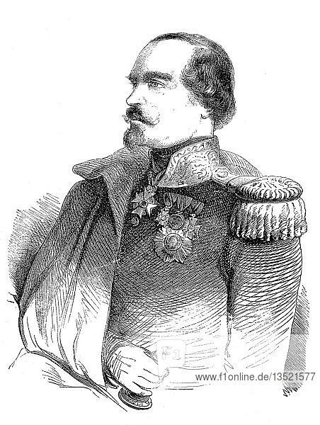 Francois-Marcellin Certain de Canrobert  27. Juni 1809  28. Januar 1895  war ein französischer Marschall  Holzschnitt  Frankreich  Europa