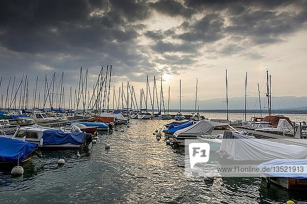 Small boats sheeted and moored along a pontoon on the lake Geneva under a stormy sky  Haute Savoie dapartment  Auvergne Rhone Alpes  France  Europe