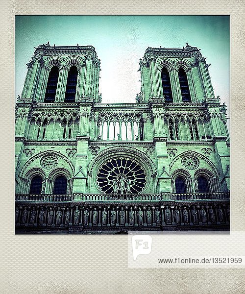 Vintage polaroid photo of facade of Notre Dame Cathedral  Paris  France  Europe