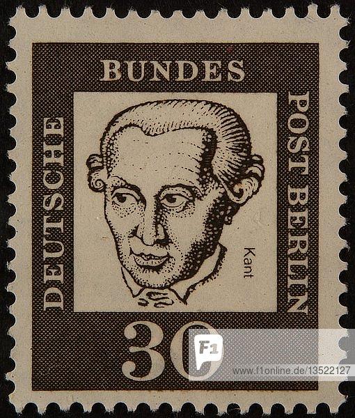 Immanuel Kant  ein deutscher Philosoph  Porträt auf einer deutschen Briefmarke  Deutschland  Europa