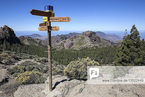 Wanderwegweiser am Wanderweg zum Roque Nublo  Ausblick auf die Berge im Westen von Gran Canaria  Kanarische Inseln  Spanien  Europa