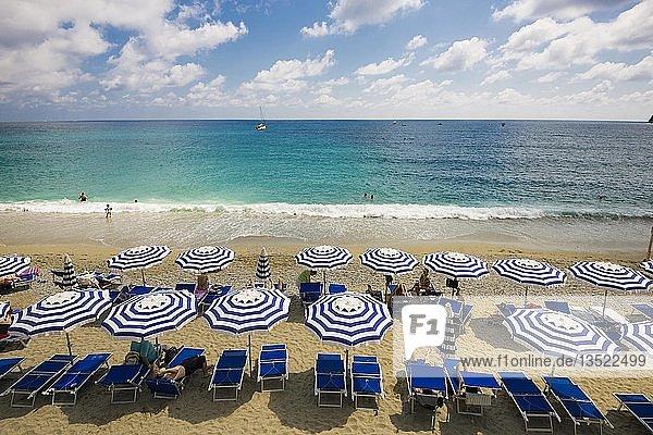 Sandstrand und bunte Sonnenschirme  Monterosso al Mare  Cinque Terre  Provinz La Spezia  Ligurien  Italien  Europa