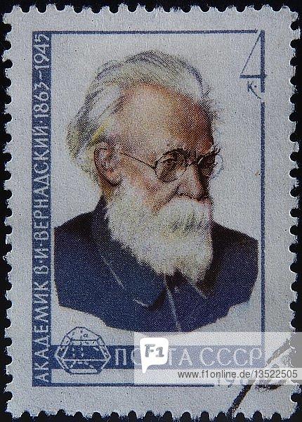 Vladimir Vernadskij  ein russischer Mineraloge und Geochemiker  Porträt auf einer russischen Briefmarke  Schweden  Europa