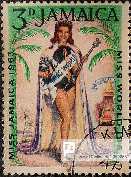 Miss World 1963  Porträt auf einer jamaikanischen Briefmarke  Schweden  Europa