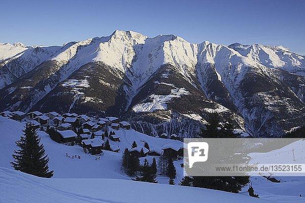 Riederalp im Winter  Aletschgletscher Gebiet  UNESCO Weltnaturerbe  Wallis  Schweiz  Europa