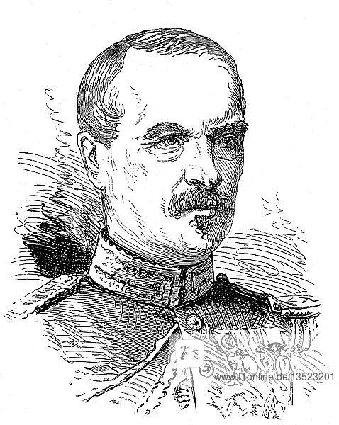 Charles Auguste Frossard  26. April 1807  25. August 1875  französischer General  Holzschnitt  Portrait  1885  Frankreich  Europa