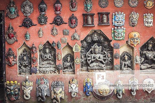 Buddhist deities and masks  Swayambhu temple complex  Kathmandu  Himalaya region  Nepal  Asia