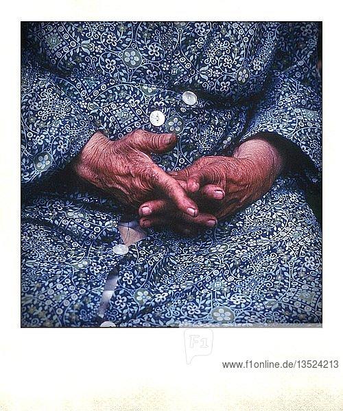Polaroid photo  hands of an elderly woman  France  Europe