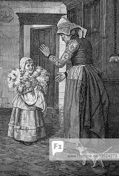 Das Glückwunschkind gratuliert der Großmutter zum Geburtstag mit einem Blumenstrauß  1880  Holzschnitt  Deutschland  Europa