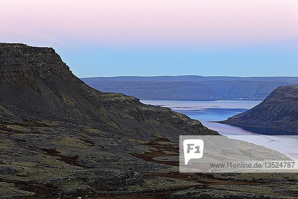 Volcanic mountains around the fjord at dawn  Westfjords  Iceland  Europe