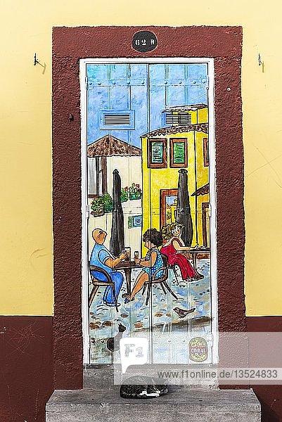 Frau  Mann  Katze  Straßenszene  kunstvoll bemalte Haustür  Malerei  Straßenkunst  Funchal  Madeira  Portugal  Europa