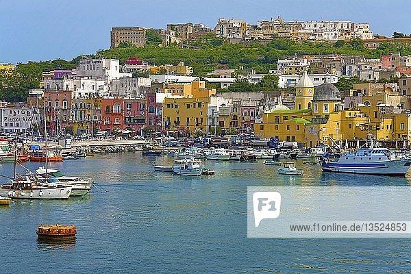 Fischerboote im Hafen  Kirche Santa Maria della Pieta  Felsenfestung Terra Murata  Procida  Golf von Neapel  Kampanien  Italien  Europa