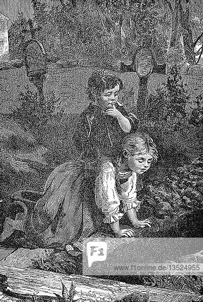 Zwei Kinder blicken in ein frisch ausgehobenes Grab  1870  Holzschnitt  Österreich  Europa