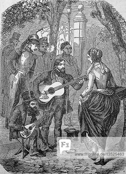 Straßenmusiker  Gitarristen aus Böhmen bei einem Auftritt  1870  Holzschnitt  England