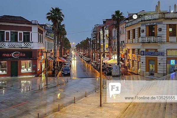 Palmengesäumte Starße in Stadtzentrum  Bulevardi Epidamni  Durres  Qark Durrës  Albanien  Europa