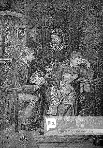 Der unangenehme Verehrer  Junger Mann  will ein Mädchen heiraten  aber sie will ihn nicht  1880  Holzschnitt  Deutschland.