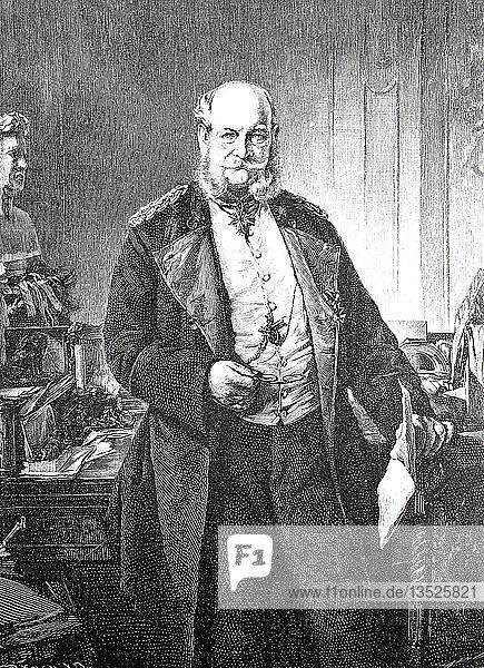 Kaiser Wilhelm in seinem Arbeitszimmer  Wilhelm I.  22. März 1797  9. März 1888  König von Preußen  1871  Holzschnitt  Deutschland  Europa