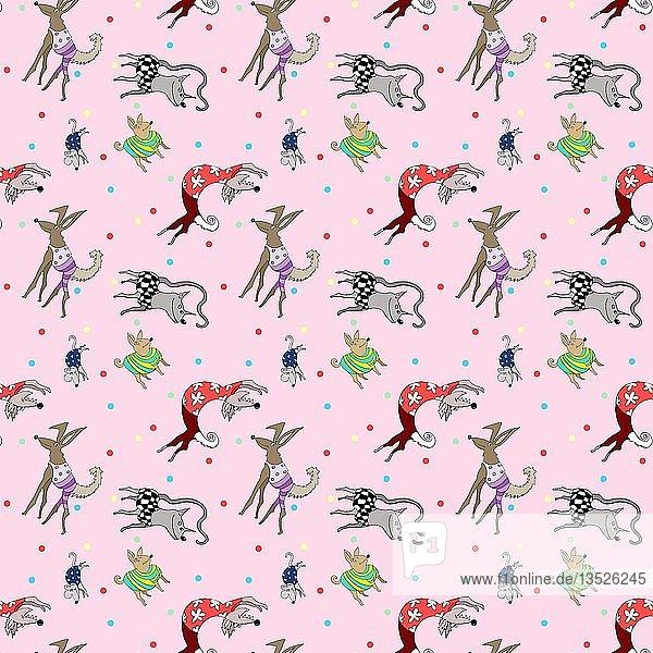 Tapete  Geschenkpapier  nahtloses Muster  Verrückte Tiere  Hund  Katze  Maus mit Kleidung  Hintergrund rosa  Deutschland  Europa