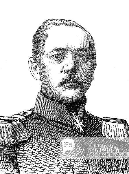 Konstantin Bernhard von Voigts-Rhetz,  16. Juli 1809,  14. April 1877,  preußischer General,  Holzschnitt,  Portrait,  1885,  Deutschland,  Europa