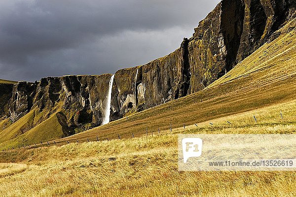 Dwarf Cliffs with waterfall  Mountain landscape  South East Iceland  Iceland  Europe