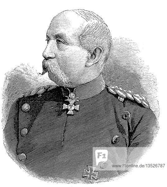 Gustav Adolf Oskar Wilhelm Freiherr von Meerscheidt-Huellessem,  15. Oktober 1825,  26. Dezember 1895,  war preußischer Offizier,  zuletzt General der Infanterie,  Holzschnitt aus dem Jahre 1888.