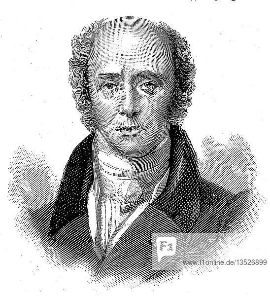 Portrait von Charles Gray  2. Earl Grey KG  13. März 1764  17. Juli 1845  britischer Adliger und Staatsmann  Holzschnitt  England