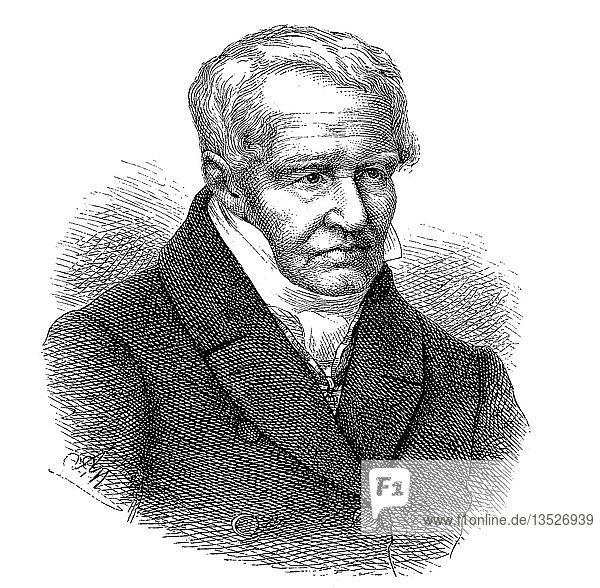 Portrait von Friedrich Wilhelm Heinrich Alexander von Humboldt  1769-1859  preußischer Geograph  Naturforscher  Forscher und einflussreicher Verfechter der romantischen Philosophie und Wissenschaft  Holzschnitt 1888  Deutschland  Europa