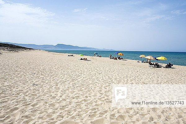 Weißer Sandstrand mit bunten Sonnenschirmen und Badegäste  Badesi  Provinz Sassari  Sardinien  Italien  Europa
