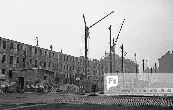 Baustelle Großblockbauten  1958  Arthur-Hoffmann-Straße  Leipzig  Sachsen  DDR  Deutschland  Europa