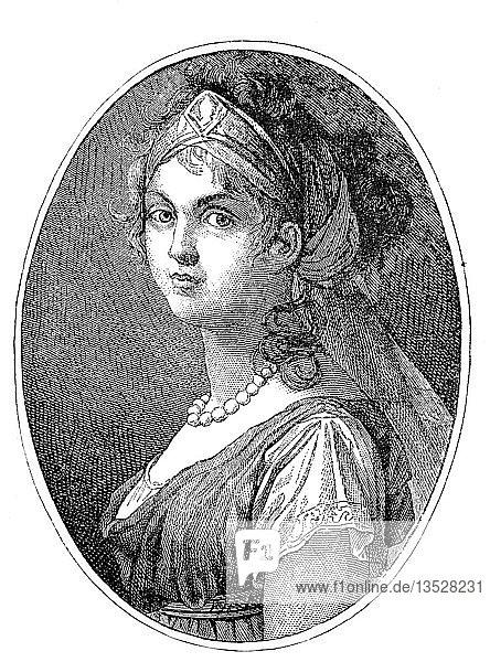 Herzogin Louise von Mecklenburg-Strelitz,  Luise Auguste Wilhelmine Amalie,  10. März 1776,  19. Juli 1810,  war Königin Gemahlin von Preußen als Gemahlin von König Friedrich Wilhelm III.,  Holzschnitt aus dem Jahr 1888,  Deutschland,  Europa