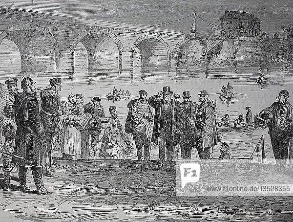 Die Ankunft von Jules Fabre an der Sebres-Brücke bei Paris in der ersten Woche des Waffenstillstands  Frankreich  nach der deutsch-französischen Kampagne von 1870/1871  Holzschnitt  Frankreich.  Europa