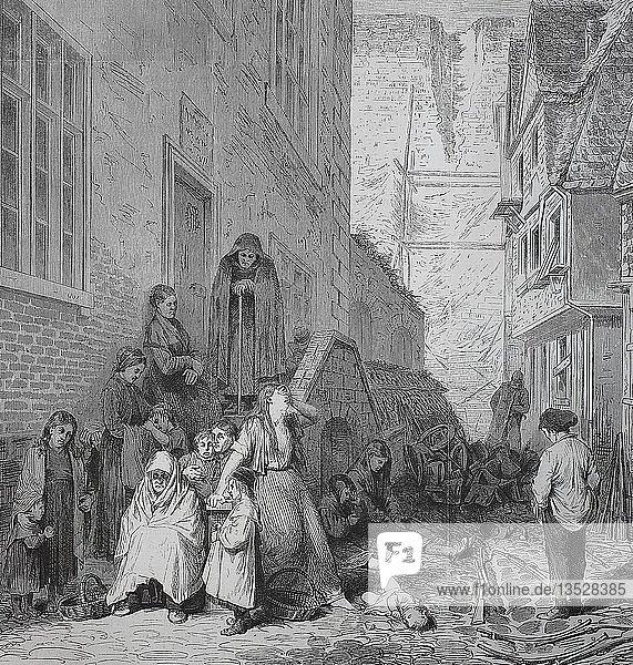Arme  trauernde Menschen in einer Seitenstraße in Sedan nach der Kapitulation  nach der deutsch-französischen Kampagne von 1870/1871  Holzschnitt  Frankreich  Europa