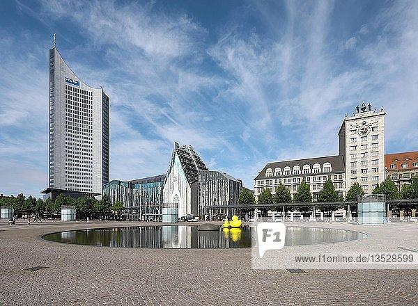 Paulinum der Universität  City-Hochhaus und Kroch-Hochhaus  Augustusplatz  Leipzig  Sachsen  Deutschland  Europa