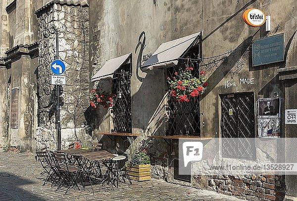 Straßenrestaurant in Kazimierz  Krakau  Polen  Europa