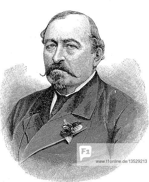 Ernest II.  Ernst August Karl Johann Leopold Alexander Eduard  21. Juni 1818  22. August 1893  war Herzog von Sachsen-Coburg und Gotha  Holzschnitt  Deutschland.