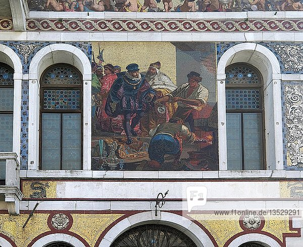 Mosaik-Bilder an Fassade  Palazzo Barbarigo  Canal Grande  Venedig  Venetien  Italien  Europa
