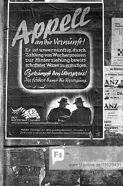 Polizeiplakat zu Wucherpreisen und Schwarzmarkt  1948  Leipzig  Sachsen  DDR  Deutschland  Europa