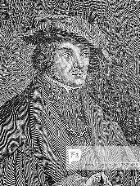 Ulrich von Hutten  21. April 1488  29. August 1523  war ein deutscher Gelehrter  Dichter  Satiriker und Reformator  Holzschnitt aus dem Jahr 1888  Deutschland.