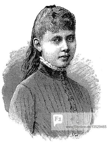 Prinzessin Margarethe Beatrice Feodora von Preußen  1872-1954  war Tochter des Kronprinzen Friedrich Wilhelm und späteren deutschen Kaisers Friedrich III.  Portrait  Holzschnitt  1888  Deutschland  Europa