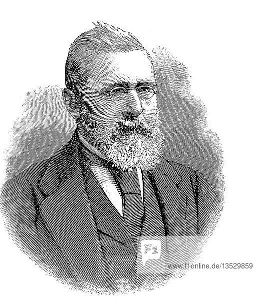 Fürst Friedrich von Solms-Baruth  29.05.1821  19.04.1904  war Ritter der Johanniter  schenkte das Johanniterhospital Jueterbog  Holzschnitt aus dem Jahr 1888  Deutschland  Europa