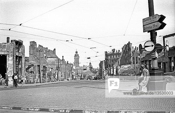 Kriegsschäden  1946  zerstörte Windmühlenstraße  Leipzig  Sachsen  DDR  Deutschland  Europa