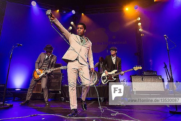 The US-American Rhythm and Blues Band Vintage Trouble live at the Blue Balls Festival Lucerne  Switzerland Ty Taylor: Vocals Nalle Colt: Guitar Rick Barrio Dill: Bass Richard Danielson: Drums