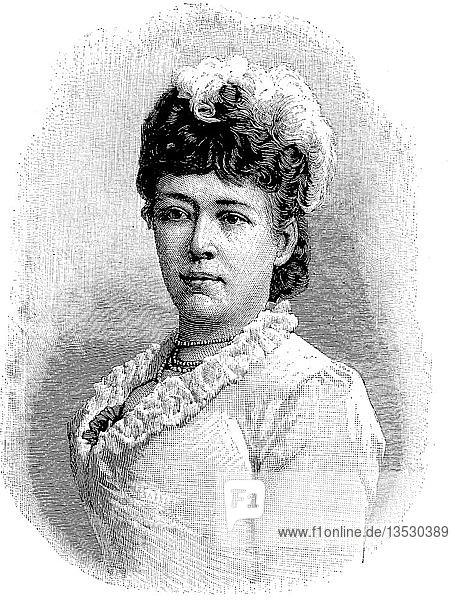 Bertha Felicitas Sophie Freifrau von Suttner  Baronin Bertha von Suttner  Gräfin Kinsky von Wchinitz und Tettau  9. Juni 1843  21. Juni 1914  war eine österreichisch-böhmische Pazifistin und Schriftstellerin  1905 erhielt sie den Friedensnobelpreis als erste Frau  Holzschnitt  Deutschland.