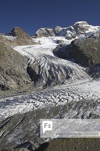 Blick auf die Bündner Alpen von Diavolezza  Schweiz  Europa