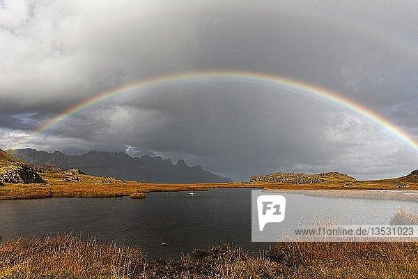Rainbow over landscape  East-Iceland  Iceland  Europe