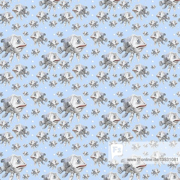 Wrapping paper  wallpaper  background blue  seamless pattern  fish in water with bubbles  Germany  Europe