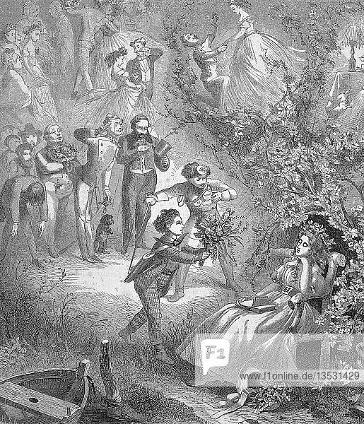 Mädchen aus reicher Familie sitzt verträumt im Garten unter einem Rosenbusch und träumt von vielen Anbetern  die bei ihr sein wollen  Holzschnitt  1888  Österreich  Europa