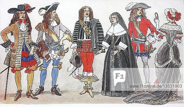Mode  Kleidung in Frankreich zur Zeit Ludwigs XIV.  Illustration  Frankreich  Europa
