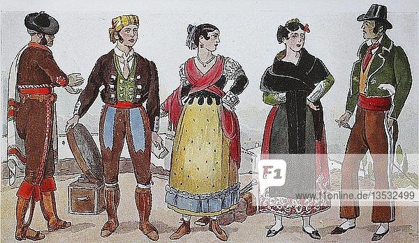 Menschen in Trachten  Mode  Kleidung in Spanien von 1810-1830  Illustration  Spanien  Europa